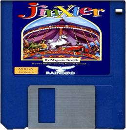 Cartridge artwork for Jinxter on the Commodore Amiga.