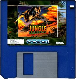 Cartridge artwork for Jungle Strike on the Commodore Amiga.