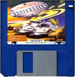Cartridge artwork for Jupiter's Masterdrive on the Commodore Amiga.