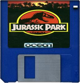 Cartridge artwork for Jurassic Park on the Commodore Amiga.
