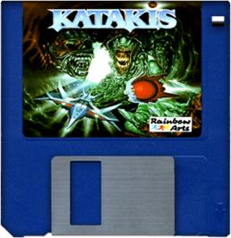 Cartridge artwork for Katakis on the Commodore Amiga.