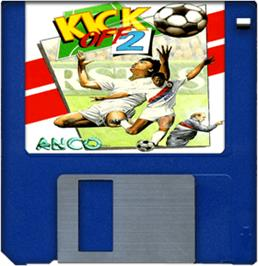 Cartridge artwork for Kick Off 2: The Final Whistle on the Commodore Amiga.