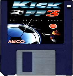 Cartridge artwork for Kick Off 3 on the Commodore Amiga.