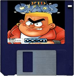 Cartridge artwork for Kid Chaos on the Commodore Amiga.