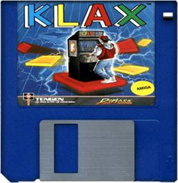Cartridge artwork for Klax on the Commodore Amiga.