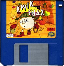 Cartridge artwork for Kwik Snax on the Commodore Amiga.