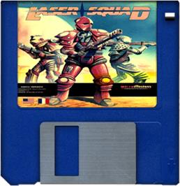 Cartridge artwork for Laser Squad on the Commodore Amiga.