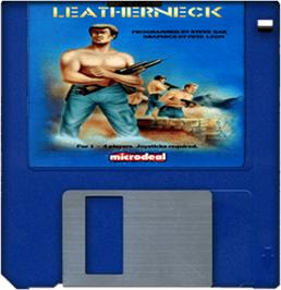 Cartridge artwork for Leather Neck on the Commodore Amiga.
