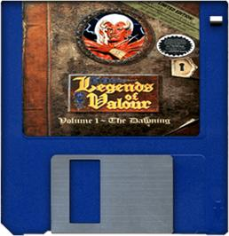 Cartridge artwork for Legends of Valour on the Commodore Amiga.
