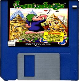 Cartridge artwork for Lemmings on the Commodore Amiga.