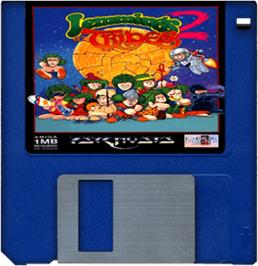 Cartridge artwork for Lemmings 2: The Tribes on the Commodore Amiga.