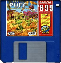 Cartridge artwork for Little Puff in Dragonland on the Commodore Amiga.