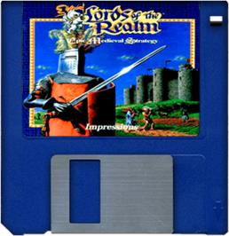 Cartridge artwork for Lords of the Realm on the Commodore Amiga.