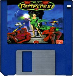 Cartridge artwork for Lure of the Temptress on the Commodore Amiga.