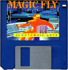 Cartridge artwork for Magic Fly on the Commodore Amiga.