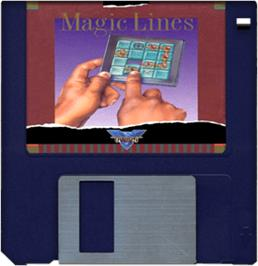 Cartridge artwork for Magic Lines on the Commodore Amiga.