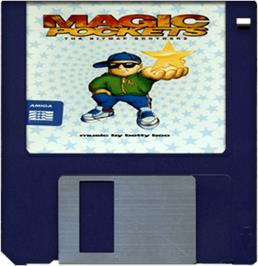 Cartridge artwork for Magic Pockets on the Commodore Amiga.
