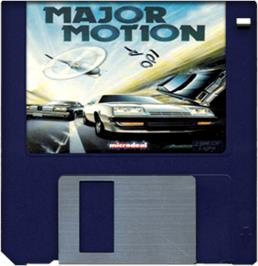 Cartridge artwork for Major Motion on the Commodore Amiga.