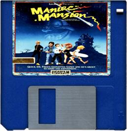 Cartridge artwork for Maniac Mansion on the Commodore Amiga.