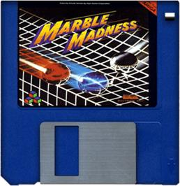 Cartridge artwork for Marble Madness on the Commodore Amiga.