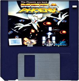 Cartridge artwork for Mega Phoenix on the Commodore Amiga.