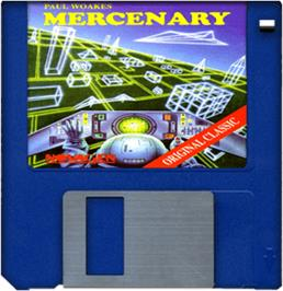 Cartridge artwork for Mercenary: Escape From Targ with the Second City on the Commodore Amiga.