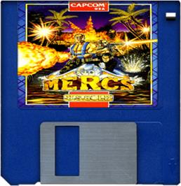 Cartridge artwork for Mercs on the Commodore Amiga.