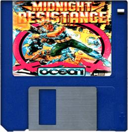 Cartridge artwork for Midnight Resistance on the Commodore Amiga.