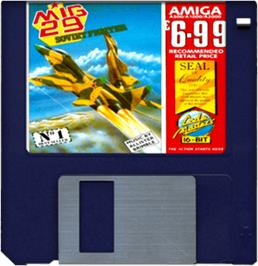 Cartridge artwork for Mig-29 Soviet Fighter on the Commodore Amiga.
