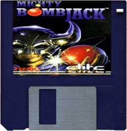 Cartridge artwork for Mighty Bombjack on the Commodore Amiga.
