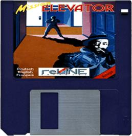 Cartridge artwork for Mission Elevator on the Commodore Amiga.