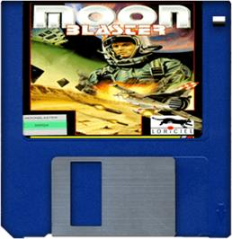 Cartridge artwork for Moon Blaster on the Commodore Amiga.