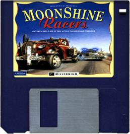 Cartridge artwork for Moonshine Racers on the Commodore Amiga.