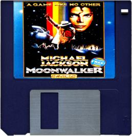 Cartridge artwork for Moonwalker on the Commodore Amiga.