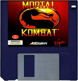 Cartridge artwork for Mortal Kombat on the Commodore Amiga.