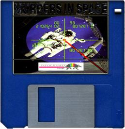 Cartridge artwork for Murders in Space on the Commodore Amiga.