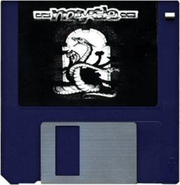 Cartridge artwork for Myth: History in the Making on the Commodore Amiga.