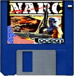 Cartridge artwork for Narc on the Commodore Amiga.