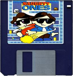 Cartridge artwork for Naughty Ones on the Commodore Amiga.
