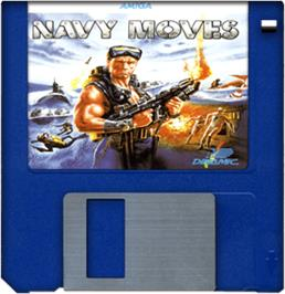 Cartridge artwork for Navy Moves on the Commodore Amiga.