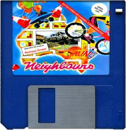 Cartridge artwork for Neighbours on the Commodore Amiga.