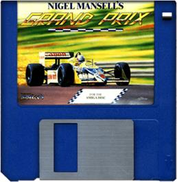 Cartridge artwork for Nigel Mansell's Grand Prix on the Commodore Amiga.