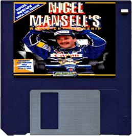 Cartridge artwork for Nigel Mansell's World Championship on the Commodore Amiga.