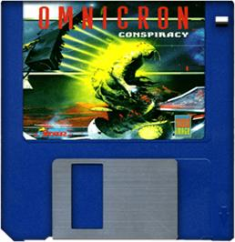 Cartridge artwork for Omnicron Conspiracy on the Commodore Amiga.