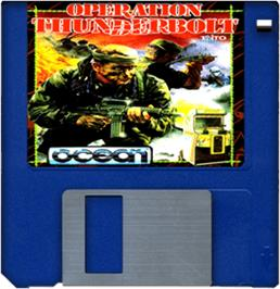 Cartridge artwork for Operation Thunderbolt on the Commodore Amiga.