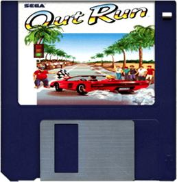 Cartridge artwork for Out Run on the Commodore Amiga.
