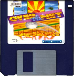 Cartridge artwork for Over the Net on the Commodore Amiga.