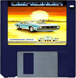 Cartridge artwork for Overlander on the Commodore Amiga.