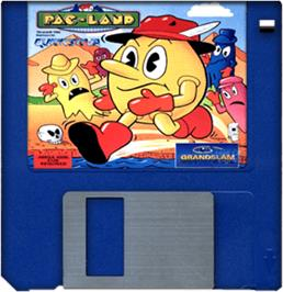 Cartridge artwork for Pac-Land on the Commodore Amiga.