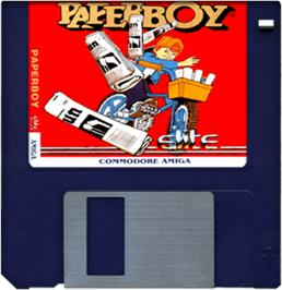 Cartridge artwork for Paperboy on the Commodore Amiga.
